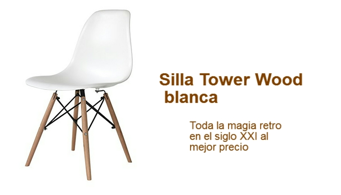 silla vintage tower wood blanca barata